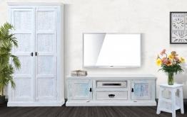Wohnwand Marbella - echt Altholz - white washed - lackiert