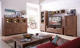 Wohnwand Mit Highboard Akazie Dunkel Woody 22-00679 Holz Modern Akazie