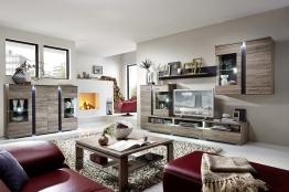 Wohnwand Mit Highboard San Remo Eiche/ Schiefer Woody 22-00502 MDF modern