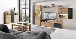Wohnwand Mit Highboard Teilmassiv Wildeiche Bianco/ Graphit Und Beleuchtung Woody 22-01186 Holz Modern