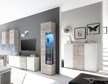 wohnwand mit highboard weiss matt lack sandeiche woody 91 00529 holz modern wohnw nde zum. Black Bedroom Furniture Sets. Home Design Ideas