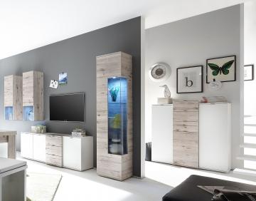 wohnwand mit highboard weiss matt lack sandeiche woody 91. Black Bedroom Furniture Sets. Home Design Ideas