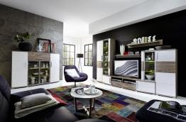 Wohnwand Mit Highboard Weiss Struktur/ Silbereiche Woody 22-00660 Holz modern