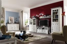 Wohnwand Mit Sideboard Kiefer Massiv Weiss / White Sanded Woody 41-00780 Landhaus Kiefer