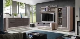 Wohnwand Mit Sideboard Nelsoneiche/ Eiche Grau Und Beleuchtung Woody 77-00667 Holz modern