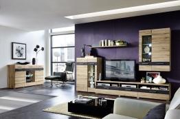 Wohnwand Mit Sideboard San Remo Eiche Hell/ Schiefer Woody 22-00631 Holz modern