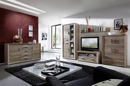 Wohnwand Mit Sideboard San Remo Eiche / San Remo Eiche Geriffelt Woody 22-00460 Holz modern