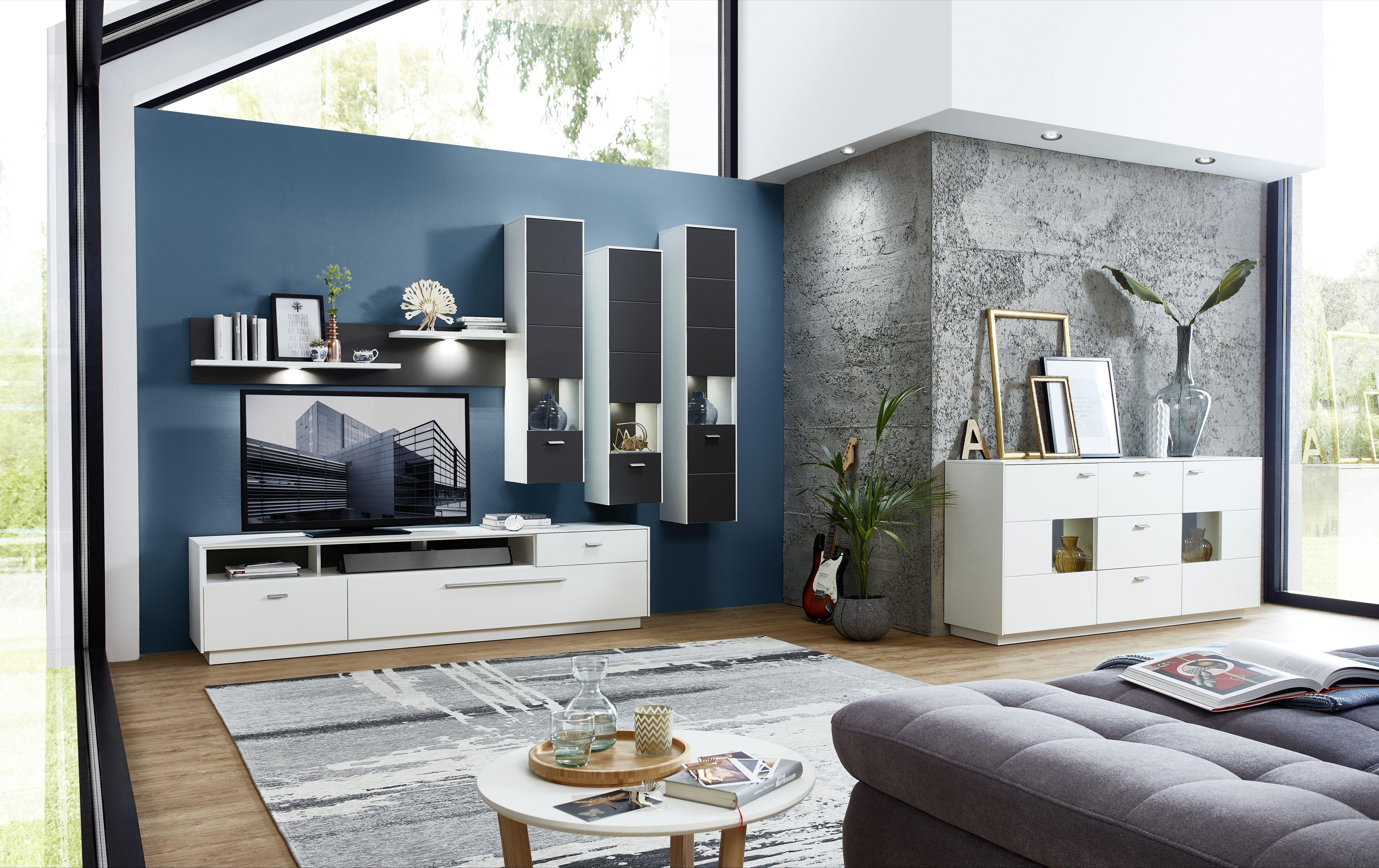 wohnwand mit sideboard weiss grau und beleuchtung woody 22 01132 holz modern wohnw nde zum. Black Bedroom Furniture Sets. Home Design Ideas