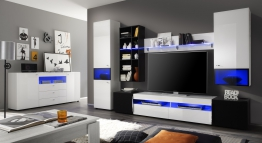 Wohnwand Mit Sideboard Weiss Hochglanz/ Akustikstoff Woody 35-00068 Schwarz Holz modern
