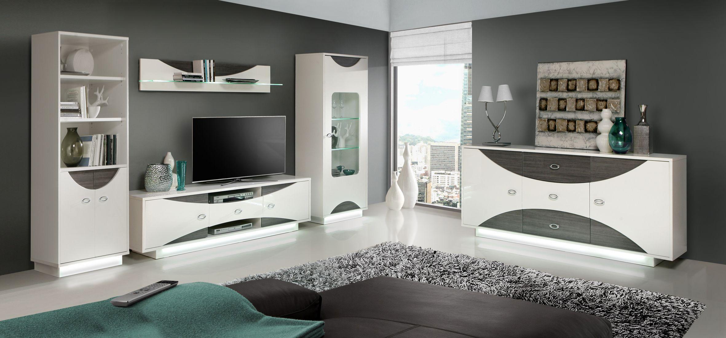 wohnwand mit sideboard weiss hochglanz eiche grau mit beleuchtung woody 77 00507 holz modern. Black Bedroom Furniture Sets. Home Design Ideas