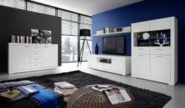 Wohnwand Mit Sideboard Weiss Matt Und Beleuchtung Woody 77-00502 Holz modern