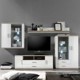 Wohnwand mit weißer Beleuchtung Hochglanz Weiß (4-teilig)