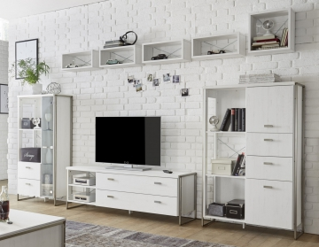 wohnwand pinie weiss mit vitrine und h ngeregalen im industriestil woody 16 00781 holz modern. Black Bedroom Furniture Sets. Home Design Ideas