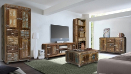 Wohnwand Retro 3-Teilig - echt Altholz - bunt lackiert