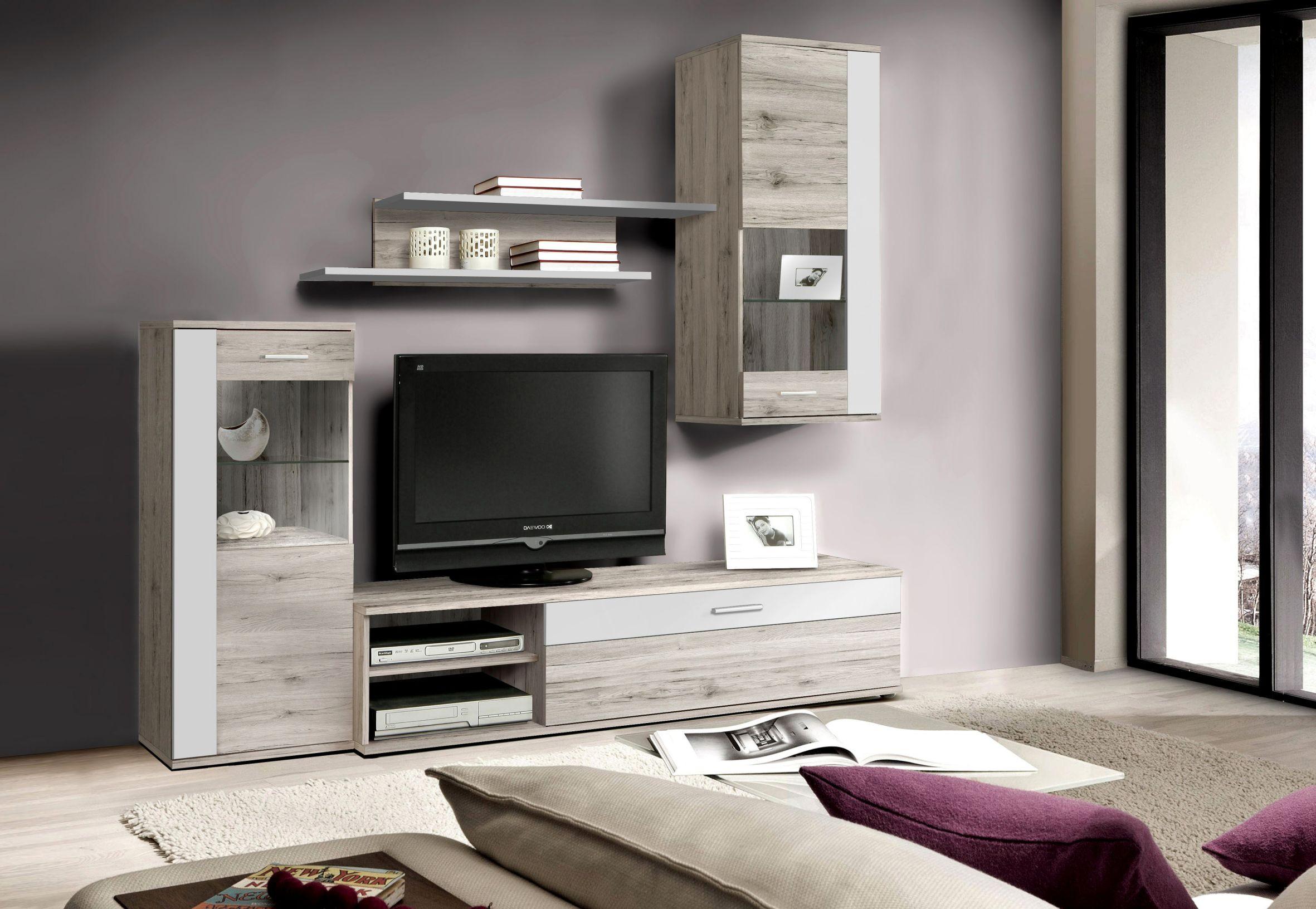 wohnwand sandeiche weiss woody 77 00518 holz modern wohnw nde zum bestpreis kaufen. Black Bedroom Furniture Sets. Home Design Ideas