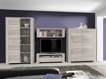 wohnwand sandeiche woody 77 00461 glas modern wohnw nde zum bestpreis kaufen. Black Bedroom Furniture Sets. Home Design Ideas