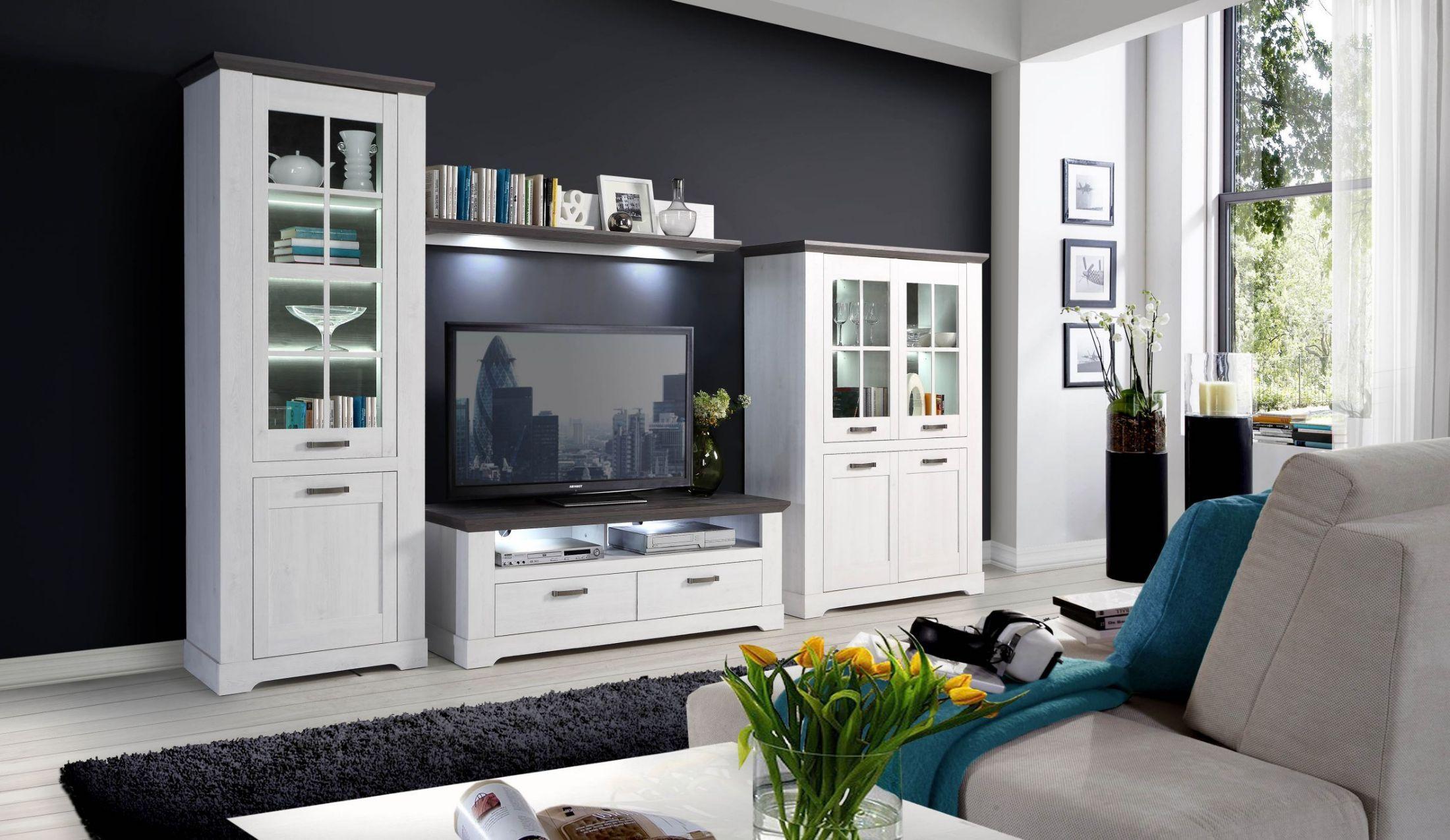 wohnwand schneeeiche pinie grau mit beleuchtung woody 77. Black Bedroom Furniture Sets. Home Design Ideas