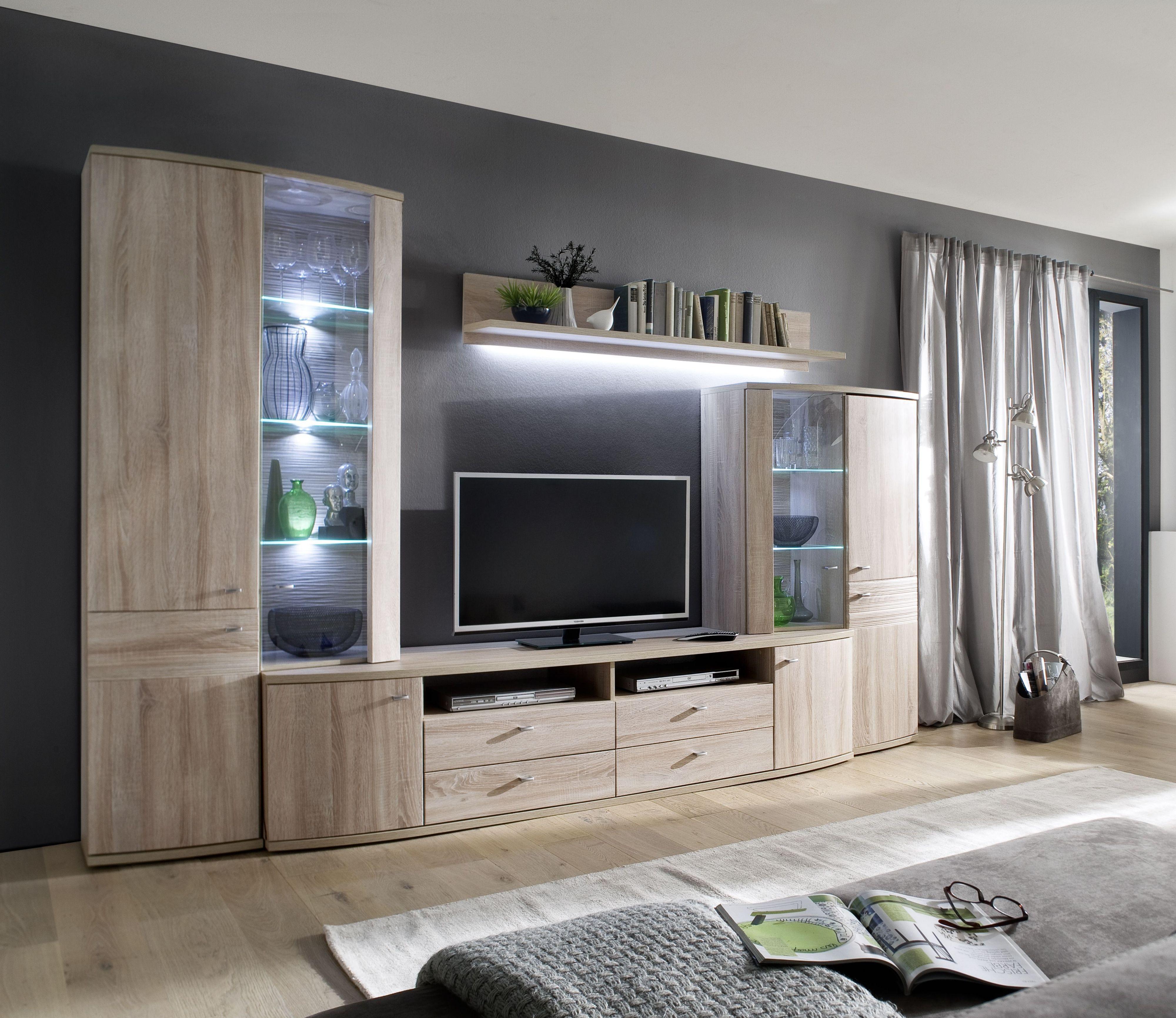 Wohnwand Sonoma Eiche Woody 153 00202 Holz Modern Eiche Wohnwande Zum Bestpreis Kaufen