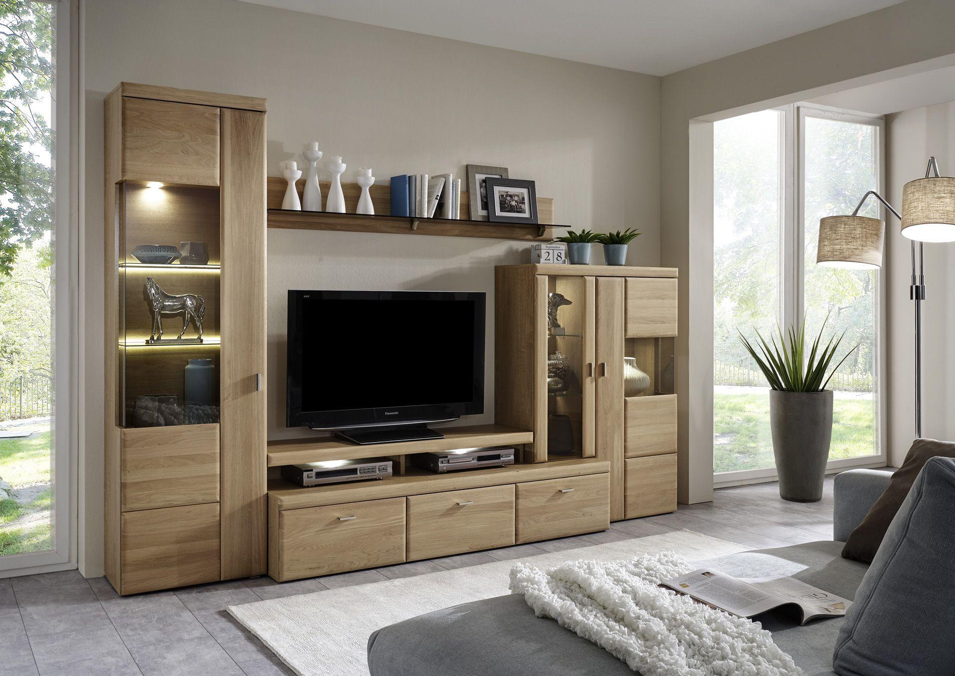 Wohnwand Teilmassiv Eiche Bianco Woody 97 00239 Holz Modern Eiche   Wohnwände zum Bestpreis Kaufen