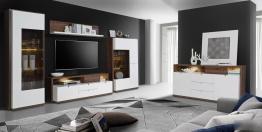 Wohnwand Und Sideboard In Weiss Hochglanz Und Schlammeiche Woody 77-00773 Holz Modern