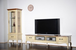 Wohnwand Vintage 2-teilig Birke massiv Holz Moebel Schrank wand Vitrine Tv Bank