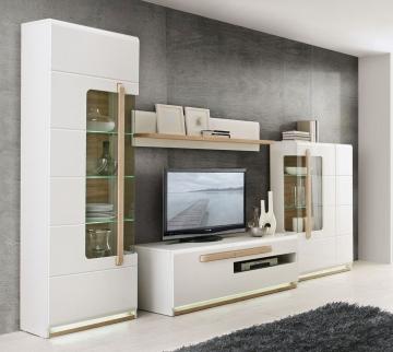 wohnwand weiss glanz und sonoma eiche woody 77 00779 modern eiche wohnw nde zum bestpreis kaufen. Black Bedroom Furniture Sets. Home Design Ideas