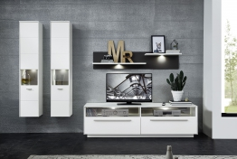 Wohnwand Weiss/ Grau Mit Beleuchtung Woody 22-01123 Holz Modern