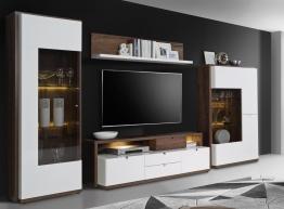 Wohnwand Weiss Hochglanz Und Schlammeiche Woody 77-00772 Holz Modern