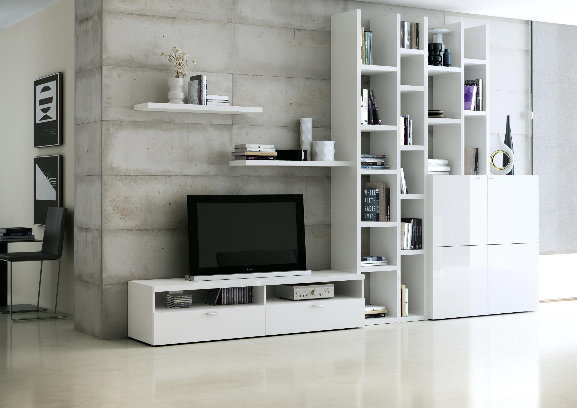 Wohnwand Weiss Hochglanz Woody 76 00121 Modern Weiss   Wohnwände zum Bestpreis Kaufen