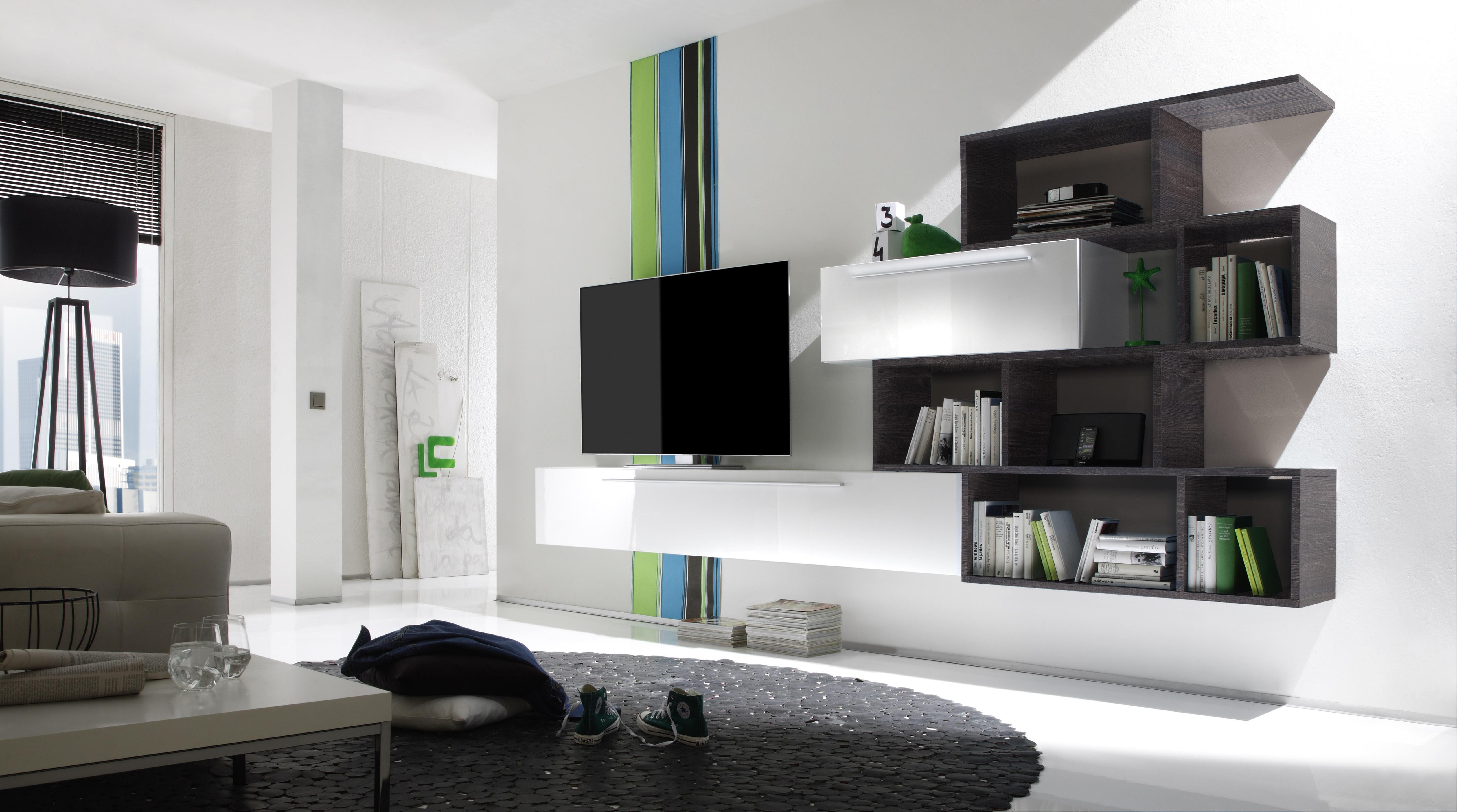 Wohnwand Weiss Lack/ Eiche Wenge Woody 12 00830 modern   Wohnwände zum Bestpreis Kaufen