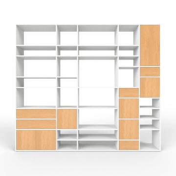 Wohnwand Weiß - MDF - konfigurierbar Weiß - Wohnwände zum ...