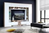 Wohnwand Weiss/ Planken Eiche Mit Glaselementen Woody 77-01132 Holz Modern weiss