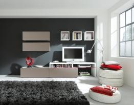 Wohnwand Weiss/ Schlamm Nachbildung Woody 156-00028 Modern