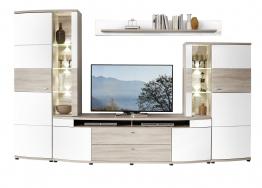 Wohnwand Weiss/ Silbereiche Mit Beleuchtung Woody 22-01139 Holz Modern