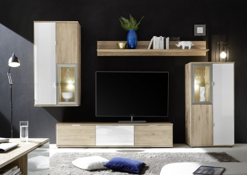 wohnwand wildeiche bianco ge lt und geb rstet glas weiss woody 101 00182 holz modern wohnw nde. Black Bedroom Furniture Sets. Home Design Ideas