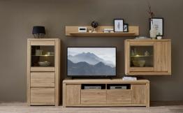 Wohnwand Wildeiche Bianco Teilmassiv Mit Beleuchtung Woody 22-01108 Holz Modern