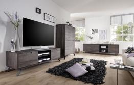 Wohnzimmer Eiche Wenge/ Metallfüsse Woody 12-01044 Holz Modern
