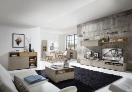 Wohnzimmer In Steingrau Woody 121-00526 Holz Modern grau