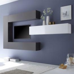 Wohnzimmer Schrankwand in Weiß Anthrazit Hochglanz hängend (4-teilig)