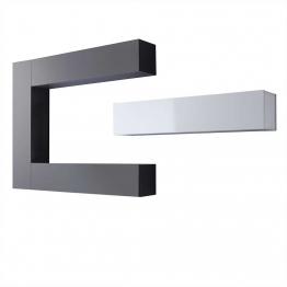 Wohnzimmer Schrankwand in Weiß Anthrazit Hochglanz hängend (4-teilig) Grau,Weiß,Anthrazit