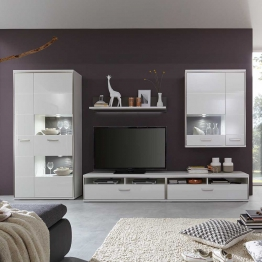 Wohnzimmer Schrankwand in Weiß Hochglanz 350 cm breit (5-teilig)