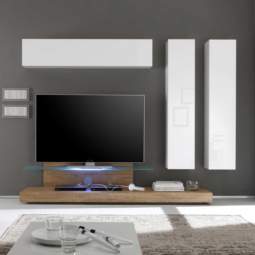 Wohnzimmer Schrankwand mit TV Podest Weiß Hochglanz Eiche (4-teilig)