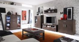 Wohnzimmer-set Eiche Sonoma Dunkel Mit Led-beleuchtung Woody 147-00186 Holz Modern Eiche