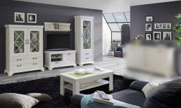 Wohnzimmer-set In Pinie Weiss Mit Led-beleuchtung Woody 77-00847 Holz Landhaus Weiss