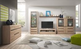 Wohnzimmer-set In San Remo Eiche Hell Mit Absetzungen In Schwarz Woody 147-00329 Holz Modern