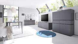 Wohnzimmer Set Mit Esstisch 180 X 100 Cm Anthrazit Lack Matt/ Blende + Sockel Wenge Woody 12-01045 Holz Modern Anthrazit