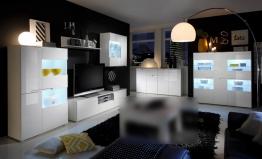 Wohnzimmer-set Weiss Hochglanz Mit Led-beleuchtung Woody 61-00108 MDF Modern