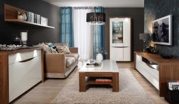 Wohnzimmer-set Weiss Hochglanz Und Sangallo Eiche Woody 77-00788 Holz Modern