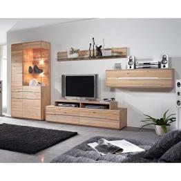 Wohnzimmer Wohnwand aus Wildeiche Massivholz weiß geölt (5-teilig)