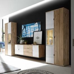 Wohnzimmer Wohnwand aus Wildeiche Massivholz Weiß Glas (3-teilig)